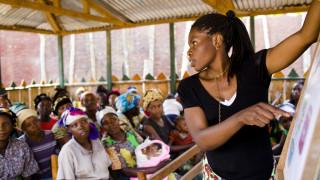Klassenzimmer von Women for Women International in der Demokratischen Republik Kongo. Foto: Les Ston