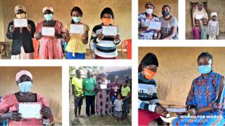 Programmteilnehmerinnen in Nigeria mit ihrer #MessageToMySister. Foto: WfWI Nigeria